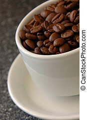Cup of Coffee - Coffee Cup filled with Coffee Beans