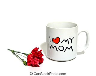 Mothers Day - Mom mug and red carnation