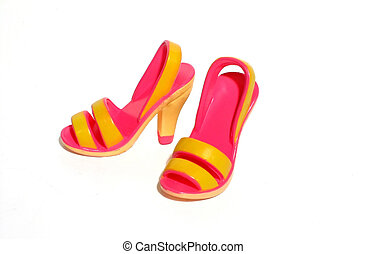 Hot Pink Shoes - Hot pink and yellow shoes
