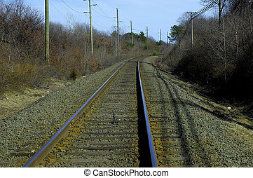 Train Tracks - Photo of Train Tracks Curving Around a Bend.