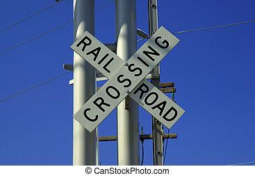 cruzamento, trilho, estrada