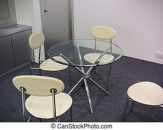 Modern meeting room with glass tables