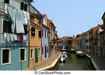 Burano - Canal scene of Burano