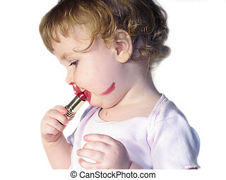 cute baby lipstick - cute baby applying red lipstick...