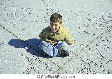 Child Sitting on a Mpa