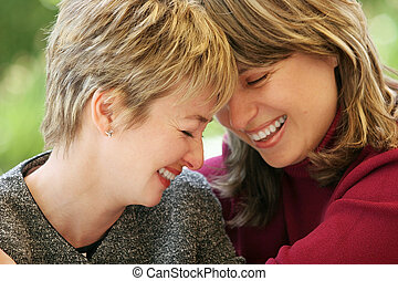 Happy moment - 2 women having a good time together