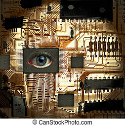 EyeSee - Circuit board with human eye integrated circuit IC...