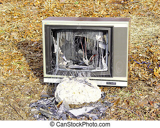 Busted TV - TV with a busted picture tube.