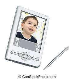 Digital PDA and Stylus Over White - Silver palmtop personal...