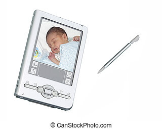 Digital PDA Camera and Stylus Over White - Silver palmtop...