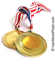 Gold Medals - 2 Gold Medals - Blank Surface allow you to put...