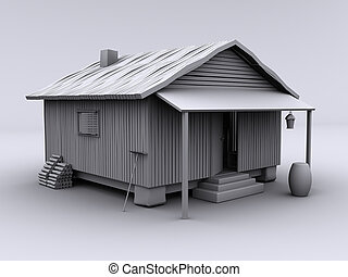 Cabin cozy III - 3d rendered textureless cabin on white...