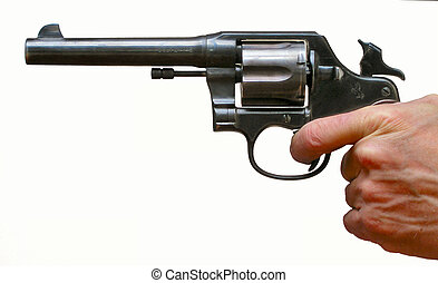 Cocked Pistol - Pistol held in mans hand ready to fire