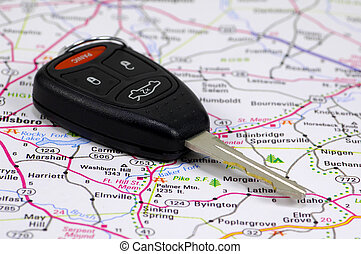 Car Key 2 - Car Key on a Map