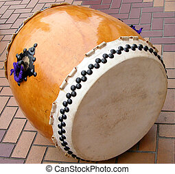 Traditional Drum - a traditional japanese wooden drum in on...