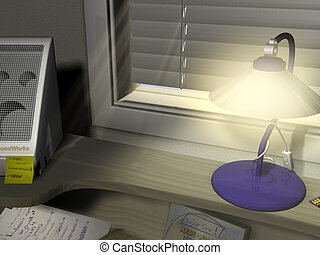 DeskTop - 3d rendered image of a desk by a window. you can...
