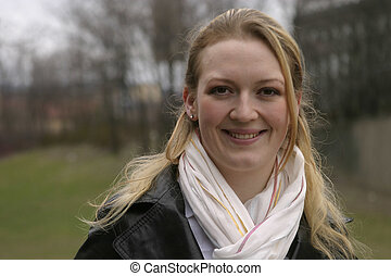 Norwegian Woman - Norwegian girl smiling into the camera in...
