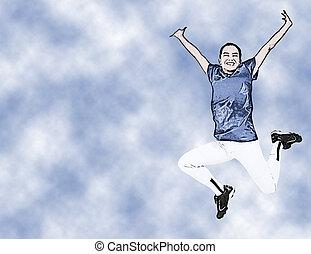 Illustration Teen Girl In Uniform Jumping