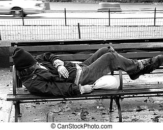 Central Park Hobo - Hobo Tramp on a Central Park Bench