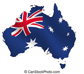 Australia - Ouline of Australia, filled with waving flag,....