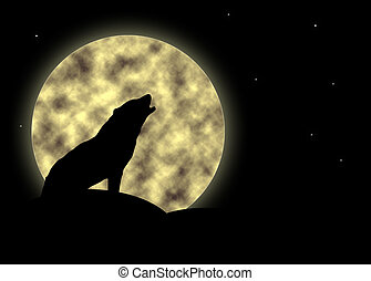 Howling at the moon - Silhouette of a howling wolf against a...
