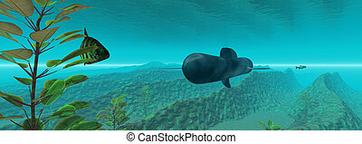 Underwater - A submarine on it`s way... Widescreen 3D...