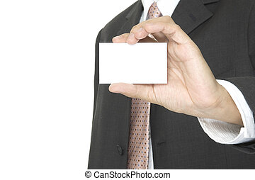 Blank Business Card - a businessman holds up a blank...