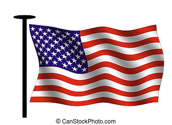 American flag - Waving American flag with flag pole.