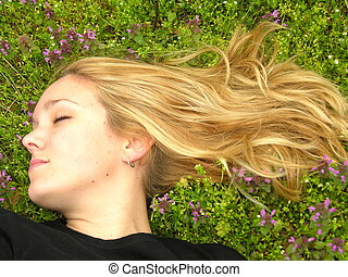 Woman eyes closed