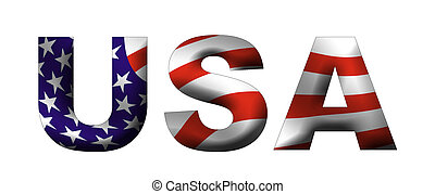 USA filled text - USA written in capitals. the letters are...