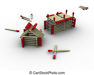 Matchstick Farm - 3d rendered image of a tiny farm made up...