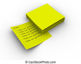 Post that - 3d rendered image of a pad of yellow post-it...