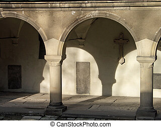 arches - Armenian church yard Ukraine Lviv