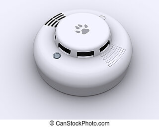 Smoke detector - 3d rendered image of a smoke detector