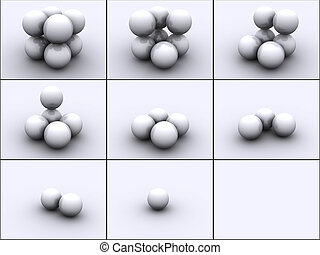 Spheres in steps - 3d rendered image of 4 spheres in steps...