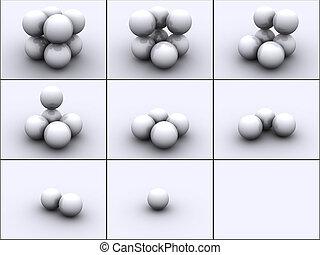 Spheres in steps - 3d rendered image of 4 spheres in steps....