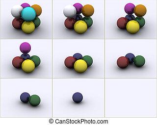 Spheres in colors - 3d rendered image of 4 spheres in...