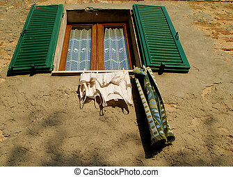 italian window - daily laundry in italy