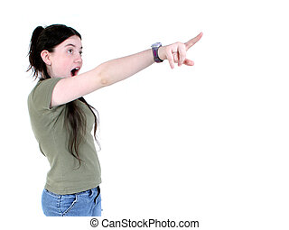 Child Girl Pointing - Twelve year old girl pointing with...
