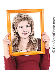 Illustration Teen - Teen girl holding wooden frame in front...