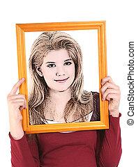 Illustration Teen - Teen girl holding wooden frame in front...