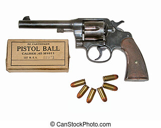45 caliber revolver - Pistol and six 45 caliber bullets