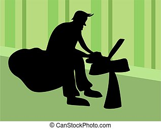 Laptop Worker - sillouette