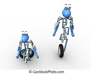 3d robot in two positions
