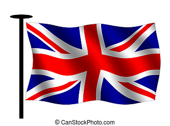 Union jack - Waving British flag with flag pole