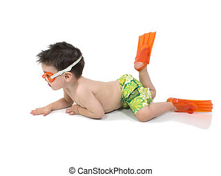 Boy Child Swim - Toddler boy in swimsuit and flippers...