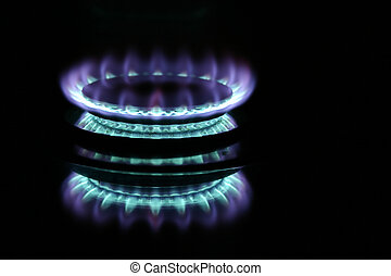 Gas Burner - Blue gas flame on stove
