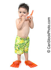 Boy Child Snorkel - Toddler boy in swimsuit and flippers and...