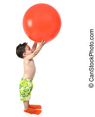 Boy Child Ball - Toddler boy in swimsuit and flippers...