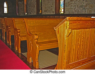Church Pews - Old stone church built in 1897